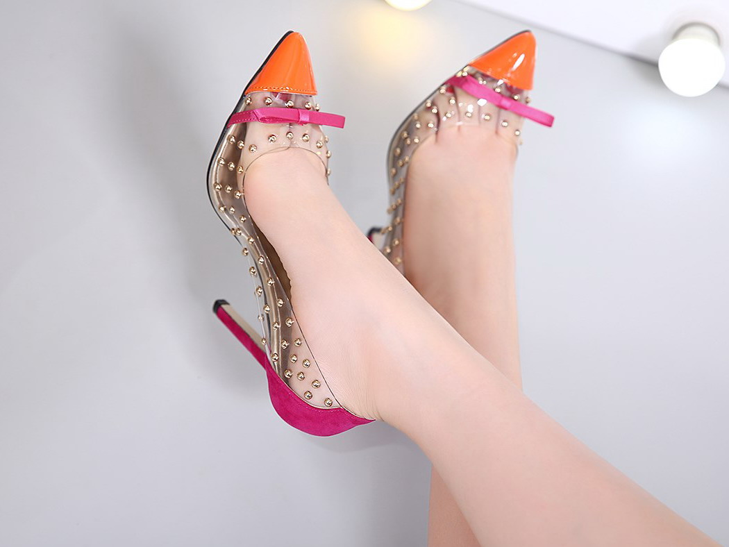 Pointed Toe Transparent Barely There High Heel Pumps with Studs adorned with Ribbon - Black, Orange, Blue