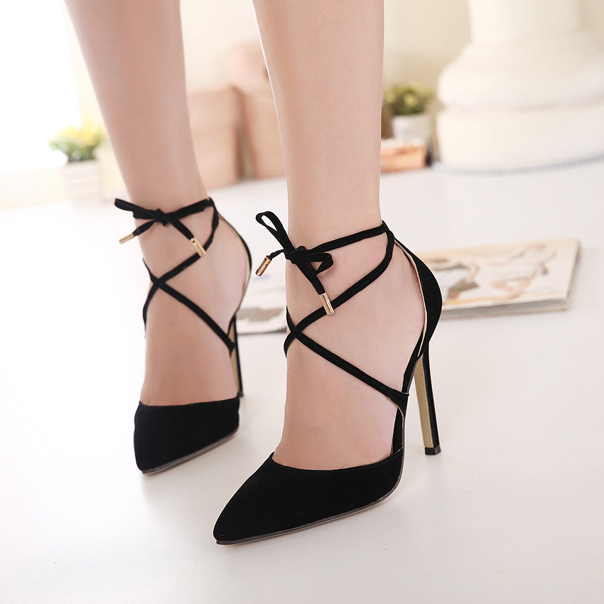 JOJO cat 100%top quality 2015 Summer pointed toe in European woman ankle-strap Flock leather Slingbacks wedding sandals shoes woman sexy bandage black evening high heels ladies Valentine's heeled pump women party work Club vintage Elastic band shoes drop shipping zapatos de tacones de mujer 100-3