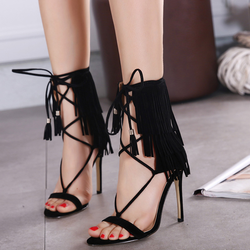 European 2016 desigual fringe Crisscross Strap bandage wedding heels sandals for girls women suede vintage fashion open toe Flock leather tassel evening sandal high heeled shoes Valentine's novelty party bridal nude platform pumps sandalias shoes zapatos tacones de mujer 726-2