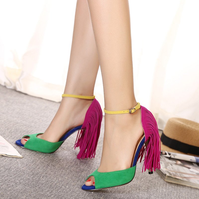 European 2016 cute simple Crisscross T-Strap bandage fringe wedding heels sandals for girls women summer suede vintage fashion peep toe Flock leather tassel evening sandal high heeled shoes Valentine's novelty party bridal nude platform pumps sandalias shoes zapatos tacones de mujer 726-5