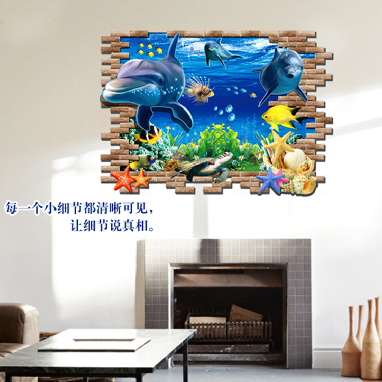 AY8009 Drop Shipping 2015 New Arrival Creative Removable 3D effect plane dolphin Animal decorative wall stickers Mural PVC Home Decor Wall Stickeres Creative Bedroom Sofa TV background wall stickers wall decoration stickers creative wallpaper Stickeres Decoración Del Hogar PVC wall stickers