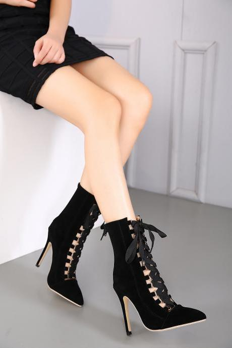 Faux Suede Lace-Up Pointed-Toe Mid-Calf High Heel Boots