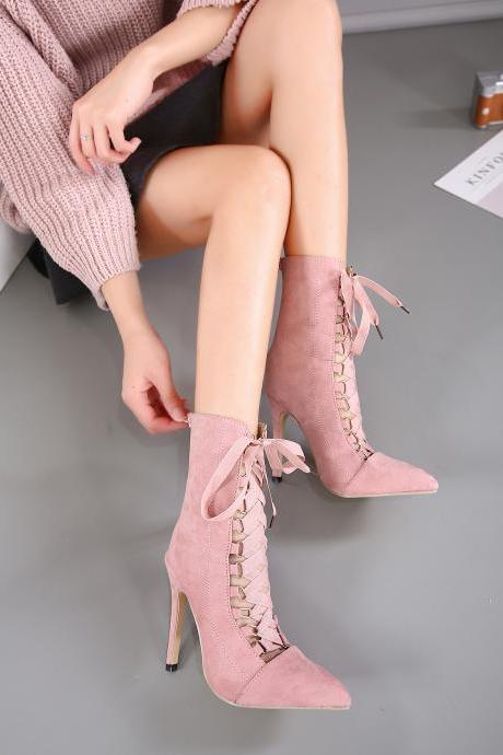 Faux Suede Lace-Up Pointed-Toe High Heel Mid-Calf Boots