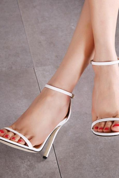 Open-Toe Ankle Strap Stiletto High Heels
