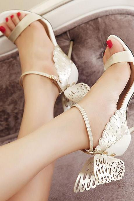 Gold Butterfly Wings High Heels Peep-Toe Sandals With Ankle Strap