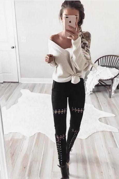 Gonice 2017 High Quality Black Color NEW Women's Deerskin Leather Hollow outs Bandage Casual Long Pants Woman High Waist Crochet Handknit Long Sleeve Slim Trousers