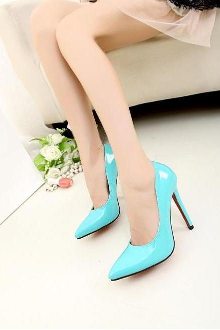 Assorted Colour Patent Leather Pointed Toe Stiletto Pump