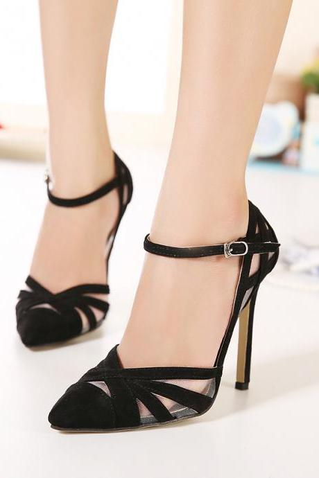 JOJO Cat 100%Top Quality 2015 Pointed Toe European Woman love Ankle-Strap Flock Leather hollow-puts high heel Wedding Shoes Woman Sexy Bandage Black Evening High-Heeled pumps Ladies Valentine's Heeled Pump Women Party Work Club Vintage Elastic Band Shoes Drop Shipping Zapatos De Tacones De Mujer 100-6