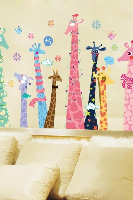 Amazon Ebay hot selling 2016 New Arrival Removable Sofa TV bedroom background wall decoration Color giraffe children's room kindergarten Creative cartoon decorative wall stickers Mural PVC Home Decor stickers Pegatinas de pared decoración de hogar XL9010ab