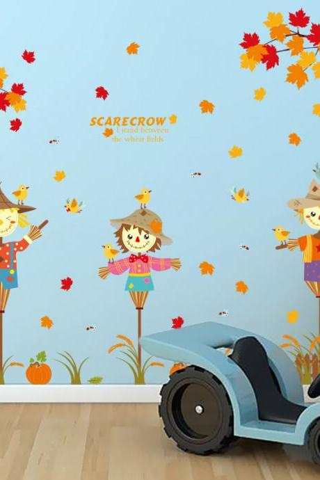 Amazon Ebay hot selling 2016 New Arrival Removable Sofa TV bedroom background wall decoration children's room Creative cartoon scarecrow decorative wall stickers Mural PVC Home Decor stickers Pegatinas de pared decoración de hogar XL8158