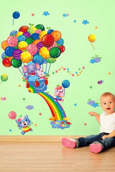 Amazon hot selling 2016 New Arrival Removable Sofa TV bedroom background wall decoration Rainbow balloon elephant cartoon animal children's room decorative wall stickers Mural PVC Home Decor Creative wall decoration stickers Decoración Del Hogar XL6043