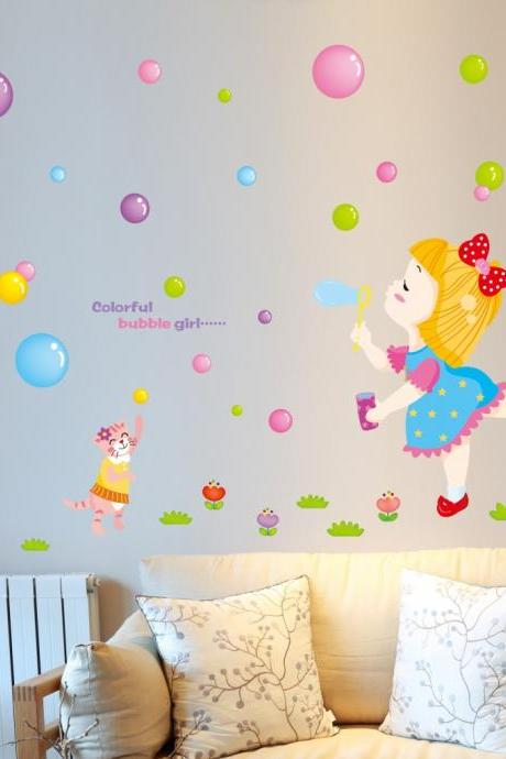 Amazon hot selling 2016 New Arrival Removable Sofa TV bedroom background wall decoration Children's room cartoon girl blowing bubbles decorative wall stickers Mural PVC Home Decor Creative Bedroom TV background wall decoration stickers Decoración Del Hogar XL6033
