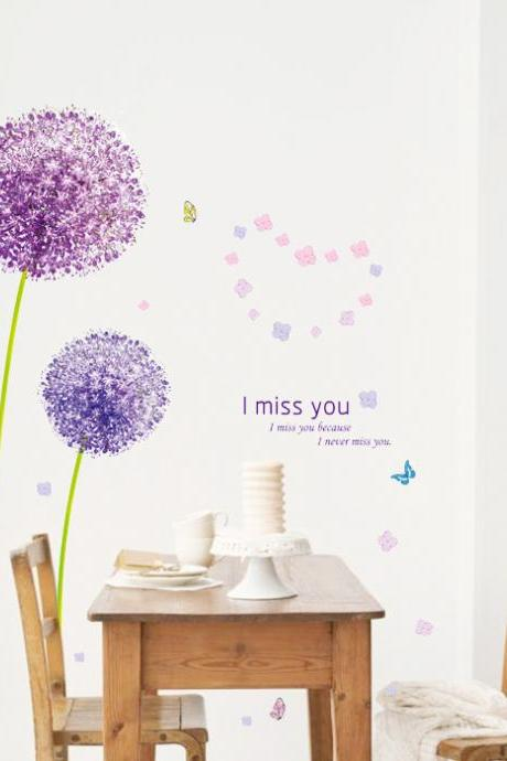 AM7010 Drop Shipping 2015 New Creative Removable Romantic Flying purple dandelion decorative wall stickers Mural PVC Home Decor Wall Stickeres Creative Bedroom Sofa TV background wall stickers wall decoration stickers creative wallpaper Stickeres Decoración Del Hogar PVC wall stickers