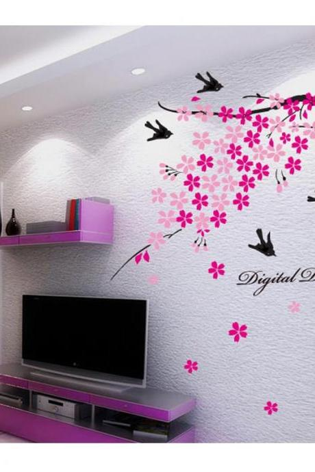 AY936 Drop Shipping 2015 New Creative Removable Romantic Plum branches swallow decorative wall stickers Mural PVC Home Decor Wall Stickeres Creative Bedroom Sofa TV background wall stickers wall decoration stickers creative wallpaper Stickeres Decoración Del Hogar PVC wall stickers