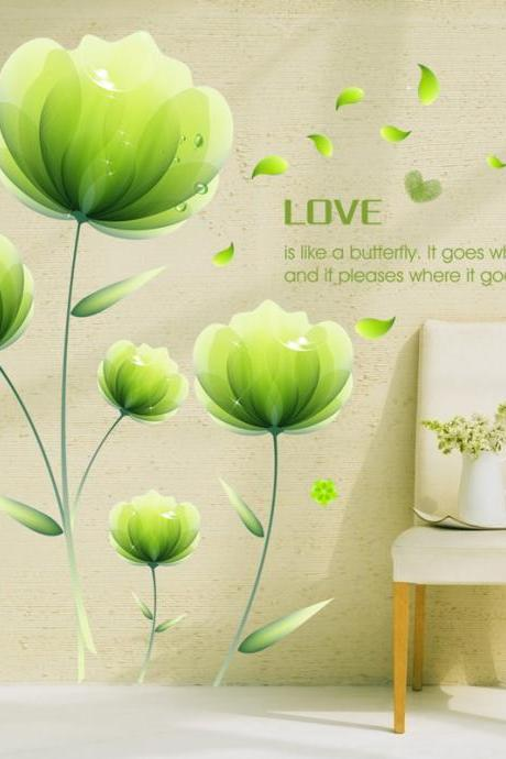 XL8087 Drop Shipping 2015 New Arrival Removable Sofa TV bedroom background wall decoration painted green flowers decorative wall stickers Mural PVC Home Decor Creative Bedroom TV background wall decoration stickers Decoración Del Hogar