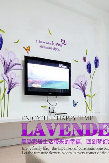 AY9212 Drop Shipping 2015 New Arrival Creative Removable Romantic purple tulip decorative wall stickers Mural PVC Home Decor Wall Stickeres Creative Bedroom Sofa TV background wall stickers wall decoration stickers creative wallpaper Stickeres Decoración Del Hogar