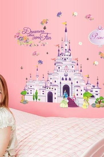 2015 New arrival Drop shipping PVC 3d Cartoon Castle decorative stickers Wall Sticker Home Decoration Decals Cartoon Children Bedroom backgrounds la decoración del hogar DF5079