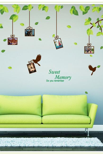 AY220A Drop Shipping 2015 New Arrival Creative Removable Green leaf photo wall decoration Mural PVC Home Decor Wall Stickeres Creative Bedroom Sofa TV background wall stickers wall decoration stickers creative wallpaper Stickeres Decoración Del Hogar