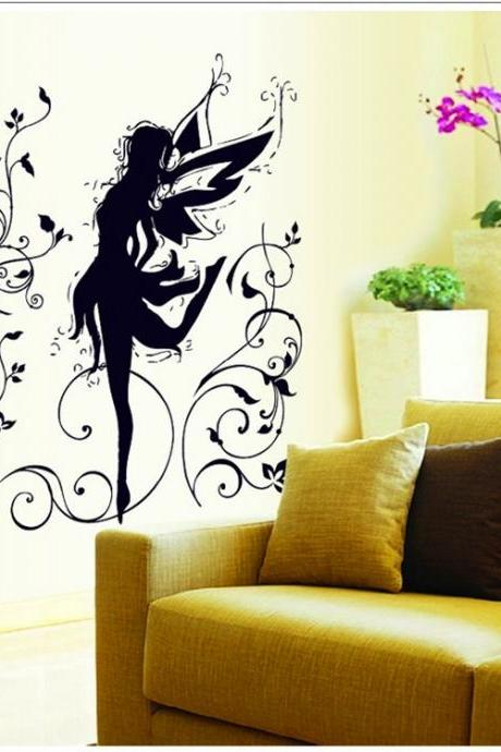 AY9113 Drop Shipping 2015 New Arrival Creative Removable Black Dance little elf decoration wall stickers Mural PVC Home Decor Wall Stickeres Creative Bedroom Sofa TV background wall stickers wall decoration stickers creative wallpaper Stickeres Decoración Del Hogar
