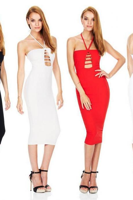 Ebay hot!High quality 2016 European women love Sexy Halter Hollow Out Bandage Club Dress Slim Pencil Midi Bodycon dress tank women summer package hip skirt dresses vestido de las mujeres VD9010
