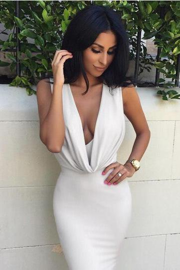 Ebay Hot 2016 European women love Sleeveless Sexy V-neck pleated Bandage night-Club Dress Slim Pencil Midi Bodycon party dress women tank summer package hip skirt dresses vestido de las mujeres VD8035