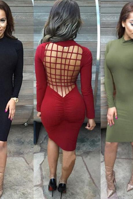 High quality 2016 Women Elegant Long Sleeve Sexy Hollow Backless bandage Slim Dress for wedding party woman Bodycon evening Dresses Fashion Spring Autumn Style One Piece Casual Clothing Women's Clubwear Midi Vestidos VD8050