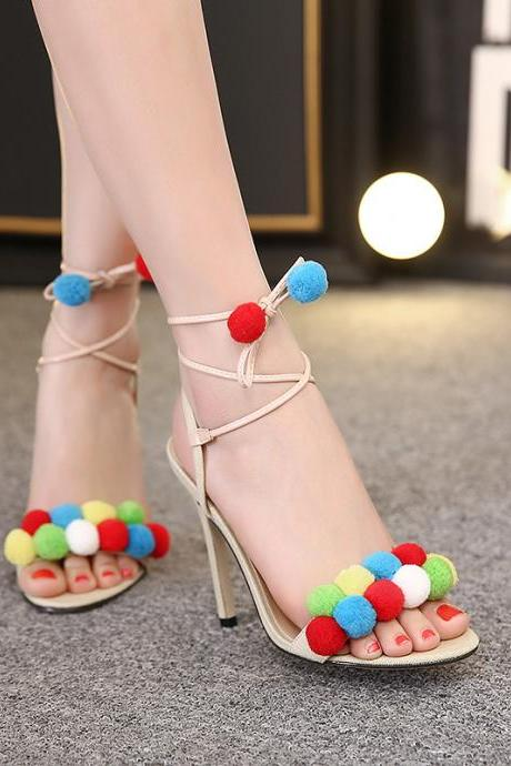 Open-Toe Colourful Pom poms Lace-up Stilettos, High Heels