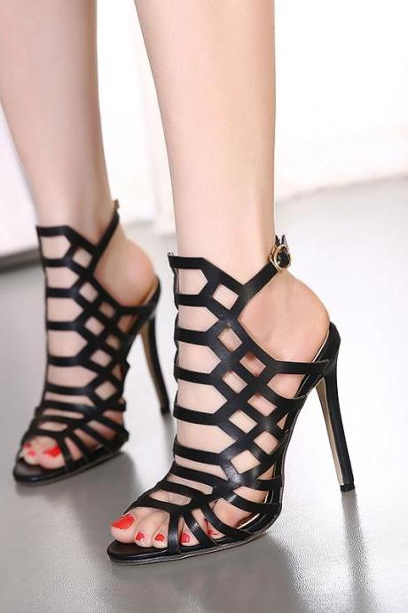 Hollow Cut Out High Heels Stiletto Sandals Shoes