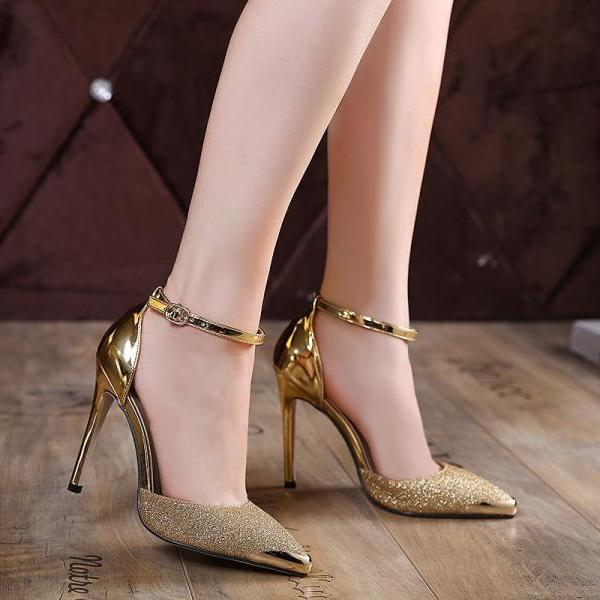 Metallic Pointed Toe Glittery High Heel Pumps - Gold / Silver