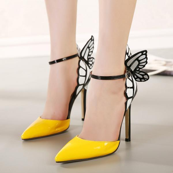 JOJO cat 2016 European Women personality wedding high heels woman Colorful butterfly pointed toe sandals Valentine's bow party bridal pumps shoes zapatos tacones de mujer A8-9