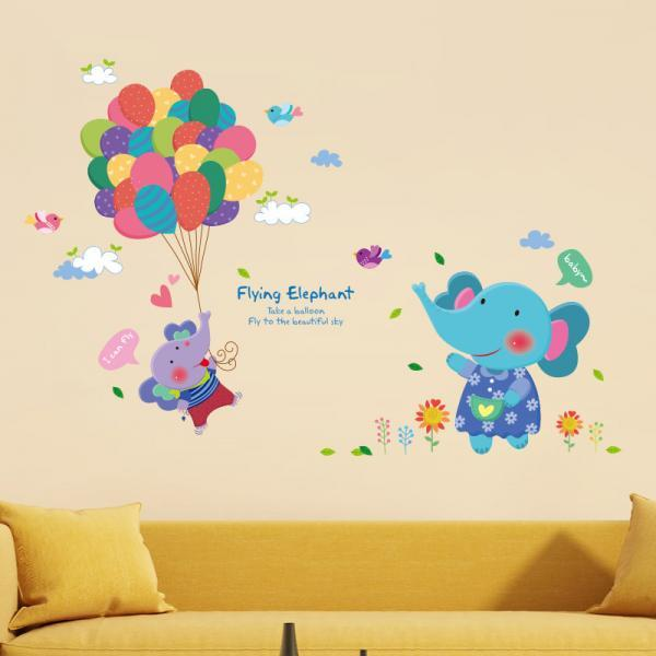 Amazon hot selling 2016 New Arrival Removable Sofa TV bedroom background wall decoration children's room cartoon Lovely elephant balloon decorative wall stickers Mural PVC Home Decor Creative Bedroom TV background wall decoration stickers Decoración Del Hogar XL6038