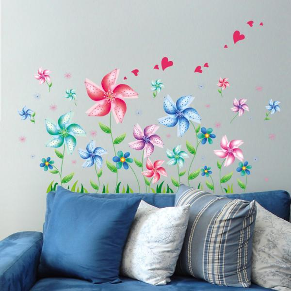 Amazon hot selling 2016 New Arrival Removable Sofa TV bedroom background wall decoration Cartoon windmill decorative wall stickers Mural PVC Home Decor Creative Bedroom TV background wall decoration stickers Decoración Del Hogar XL6040