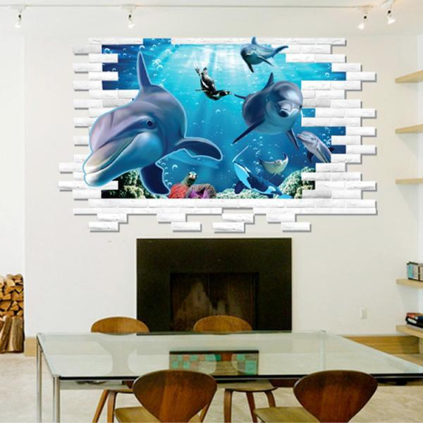 AM9108 Drop Shipping 2015 New Creative Removable 3D effect plane dolphin Animal Submarine world decorative wall stickers Mural PVC Home Decor Wall Stickeres Creative Bedroom Sofa TV background wall stickers wall decoration stickers creative wallpaper Stickeres Decoración Del Hogar PVC wall stickers