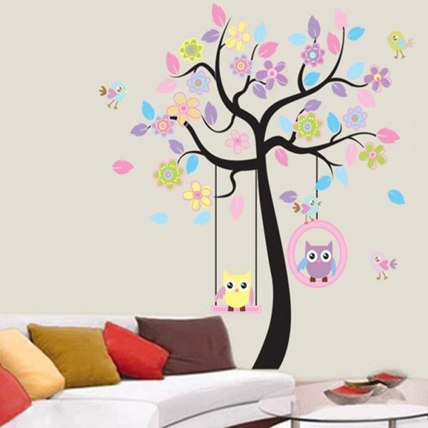 JM7186AB Drop Shipping 2015 New Creative Removable Children's room Cute owl tree decorative wall stickers Mural PVC Home Decor Wall Stickeres Creative Bedroom Sofa TV background wall stickers wall decoration stickers creative wallpaper Stickeres Decoración Del Hogar PVC wall stickers