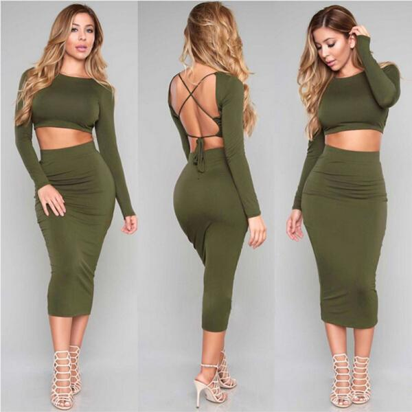 2016 European women love Long sleeve Sexy Backless two piece set Army green Bandage night-Club Dress Slim Pencil Midi Bodycon party dress women tank summer package hip skirt dresses vestido de las mujeres VD8119